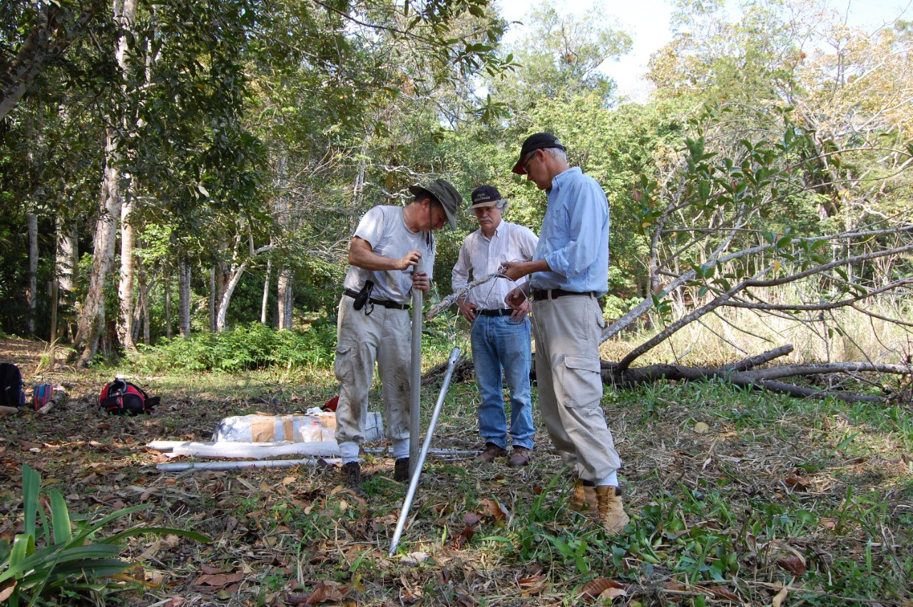 Three people work with equipment in a rainforest.
