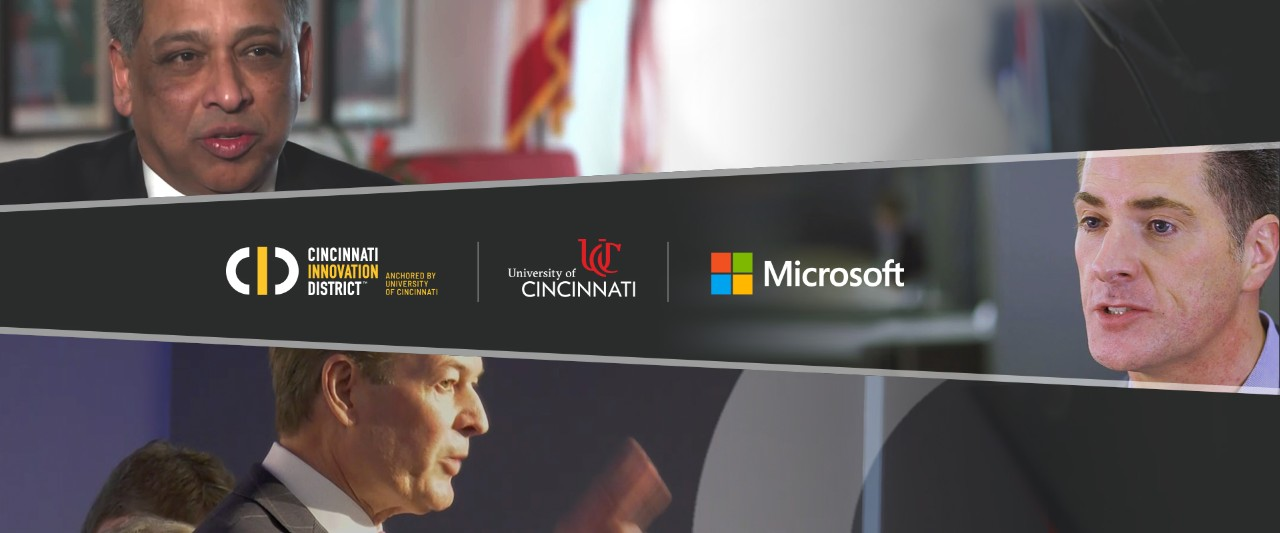 Three images of men speaking stacked horizontally, with the middle image containing logos for UC, Microsoft Education and the Cincinnati Innovation District