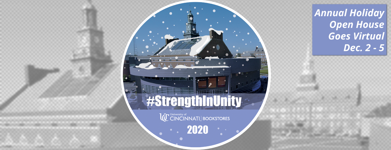 Design for coaster gift with Tangeman University Center and snow with UC Bookstores logo
