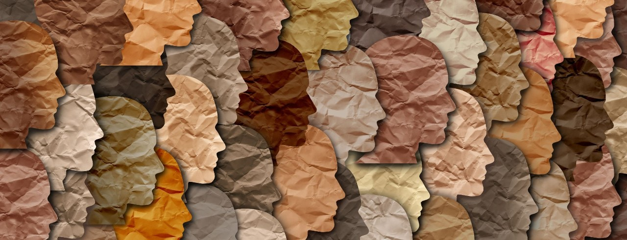 a graphic of layered silhouettes of human heads in a wide array of earth and skin tones that look like they have been
