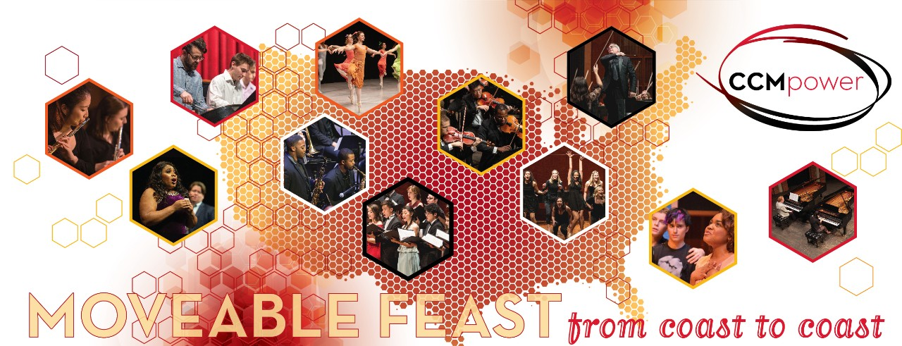 A promotional graphic for CCM's 2021 virtual Moveable Feast event