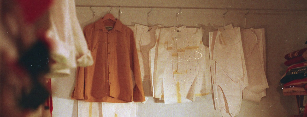 Clothing and patterns hanging