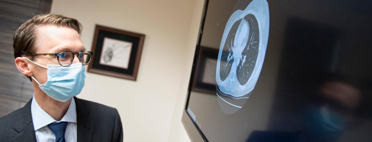 Robert Van Haren looking at lung image