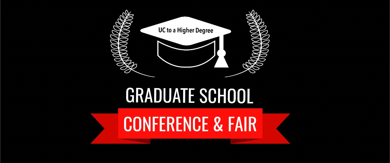 Logo of mortar cap with laurel leaves for the Graduate School Conference and Fair.