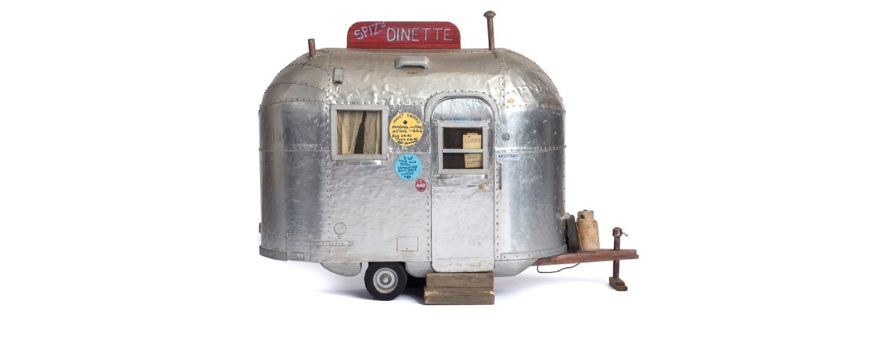 A miniature camping trailer created by Dean Gillispie while in prison for 20 years