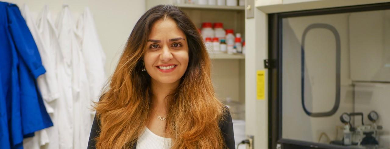 UC assistant professor Leyla Esfandiari in her lab.