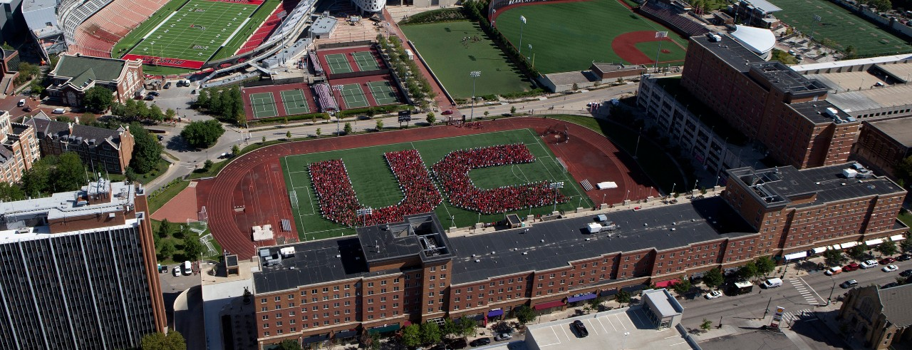 An aerial view of UC's convocation.