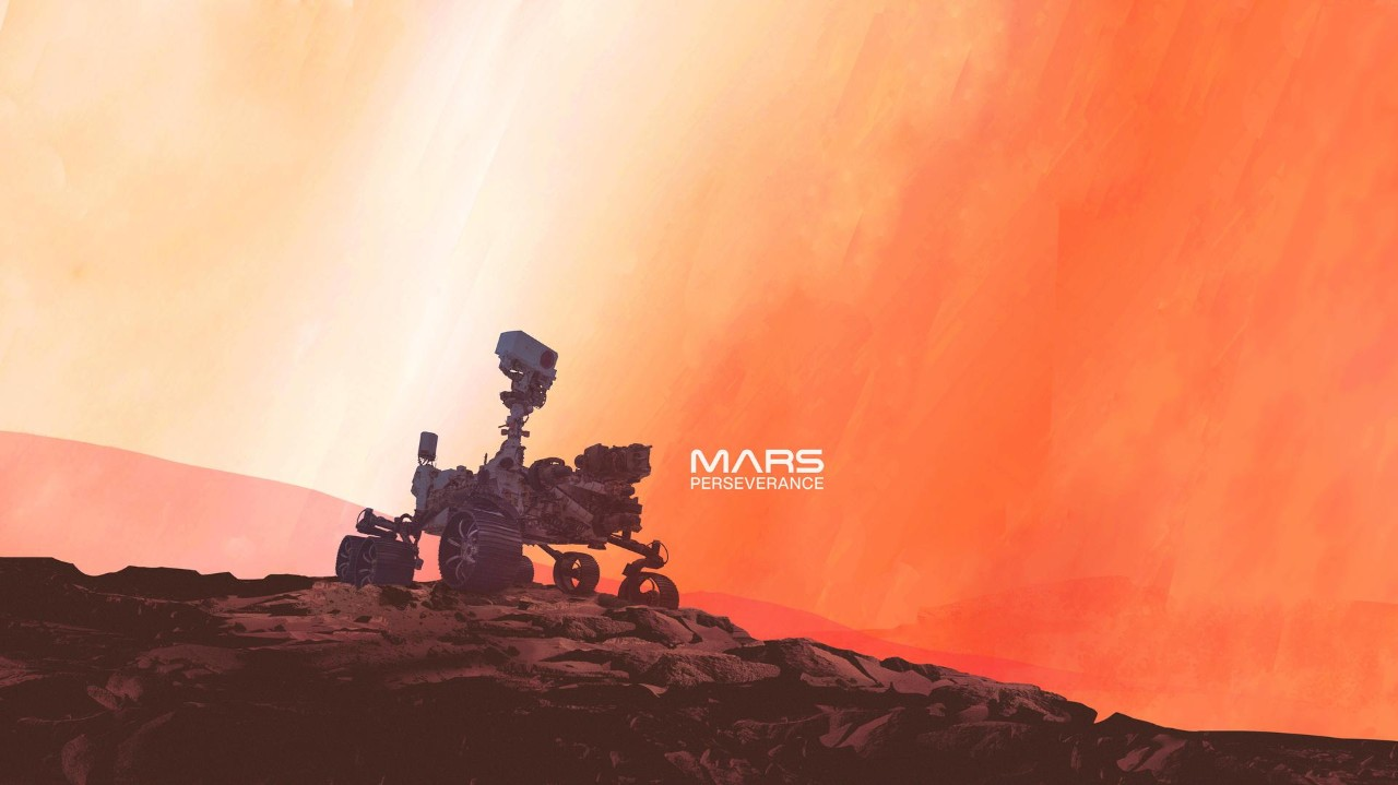A graphic illustration of a rover on Mars with the words Mars Perseverance.