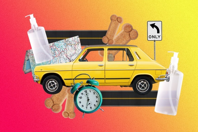 a graphic depicting a road trip, with a car flanked by a clock, dog biscuits, a map, a turn left sign and bottles of hand sanitizer