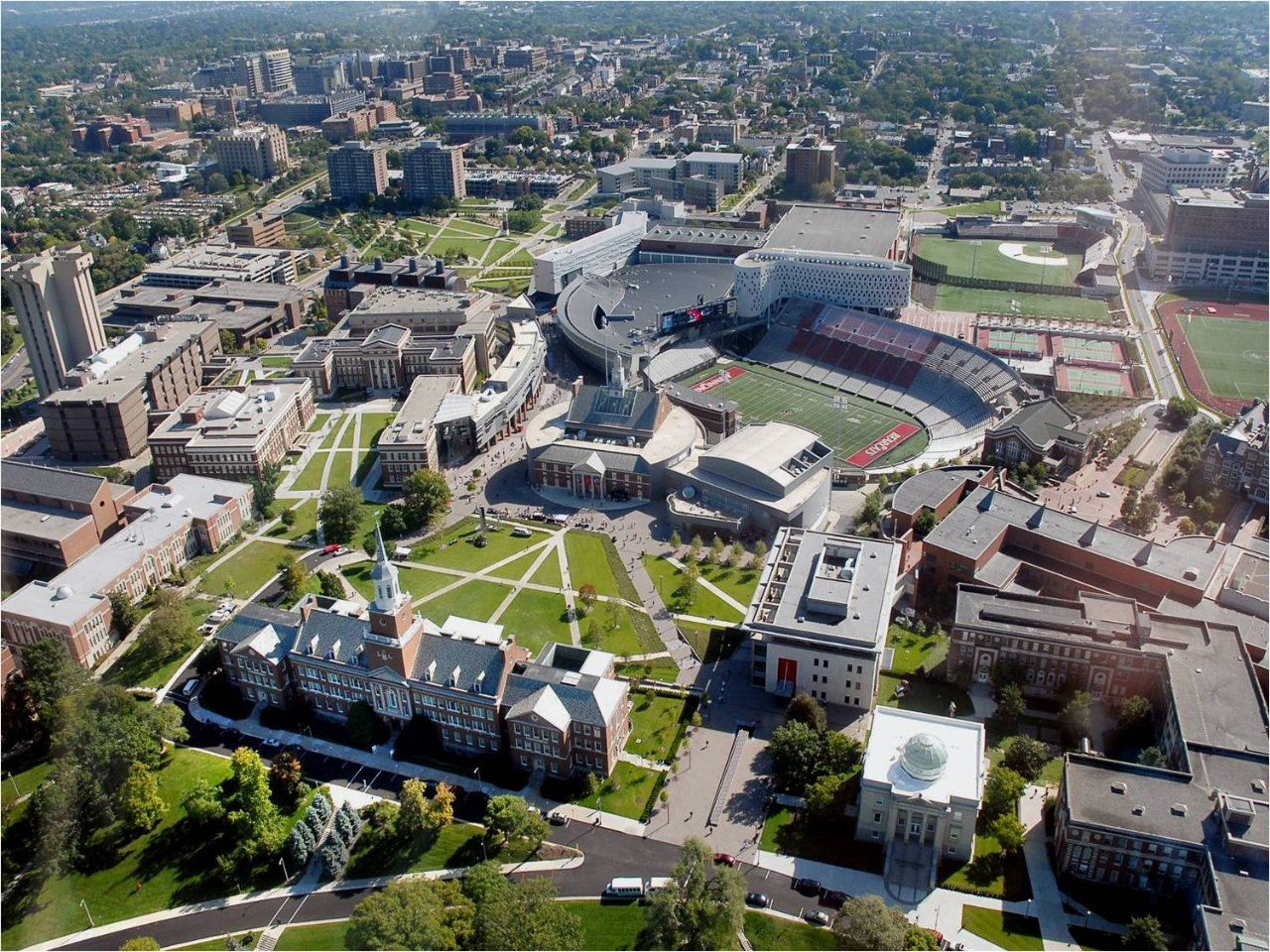 Aerial view of UC's uptown campus.