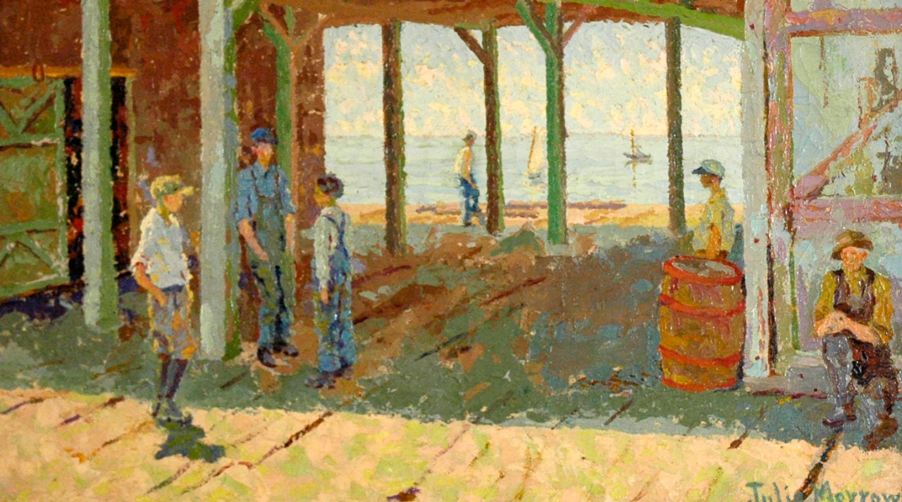 painting of men on a pier
