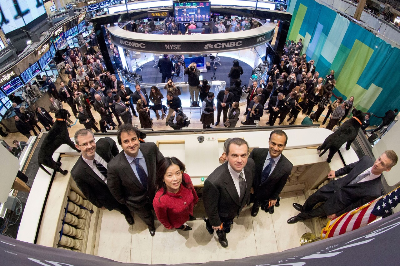 Shtrom stands with Ruckus Wireless colleagues during its initial public offering on the New York Stock Exchange. The company later sold for more than $1.5 billion.
