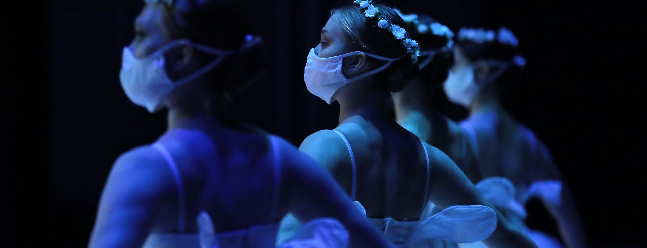 "A photo of four CCM dance majors performing ""Les Sylphides."" Photo/Dale Pickett"