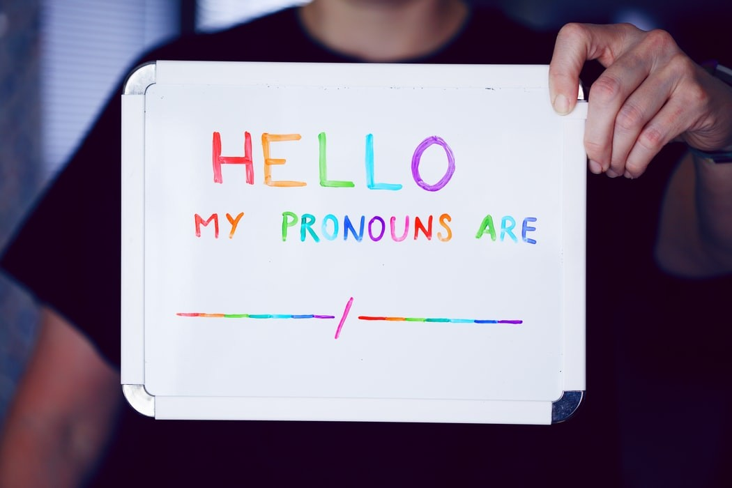 image of sign saying Hello in rainbow colors