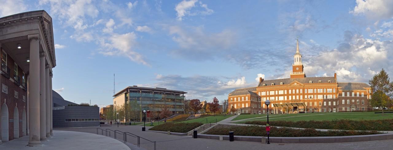 panoramic view of University of Cincinnati showing three major buildings
