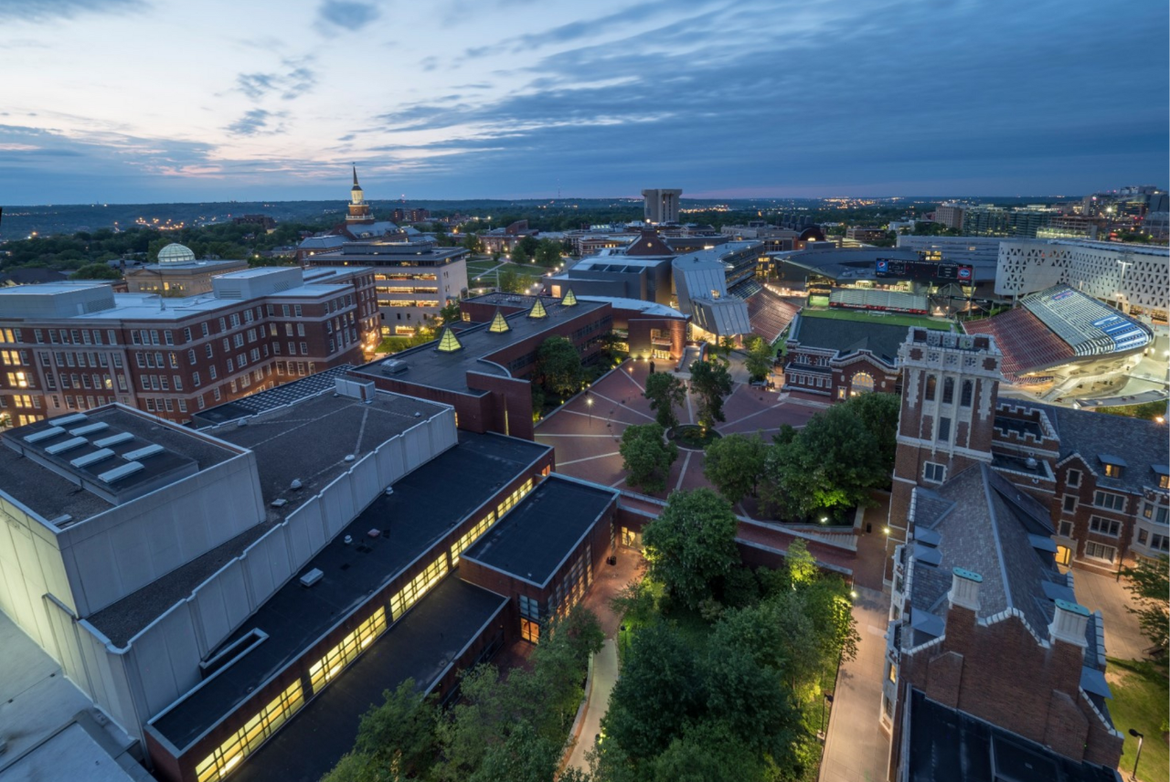 Aerial view of UC campus at night