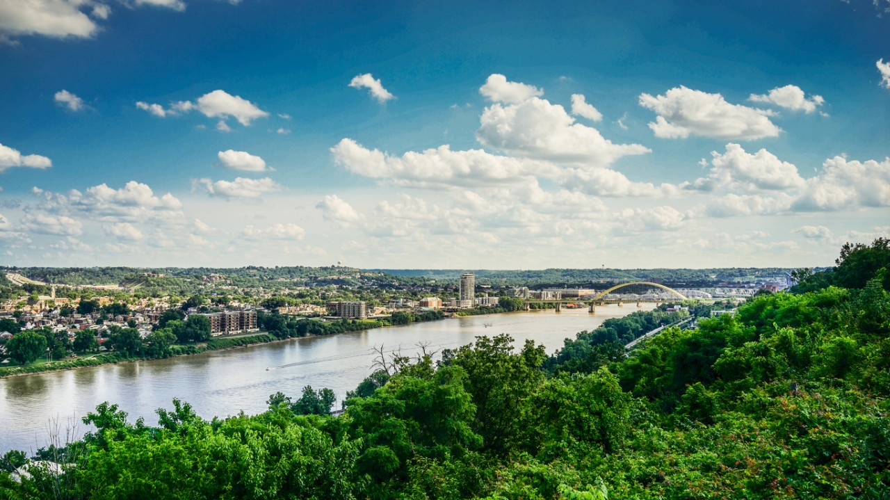 Ohio River dividing Ohio and Kentucky