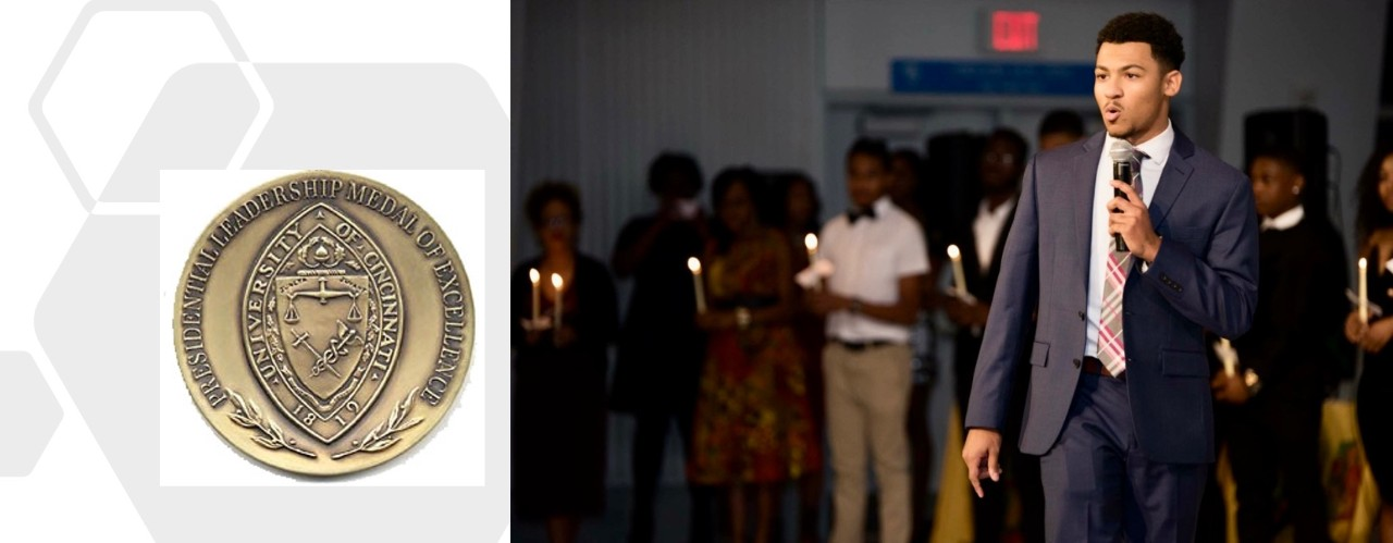 UC 2020 student body president Chandler Rankin speaks on mic in photo on left with image of UC PLME medal on left.