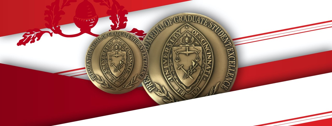 Red and white diagonal ribbons with two UC presidential medal of graduate student excellence