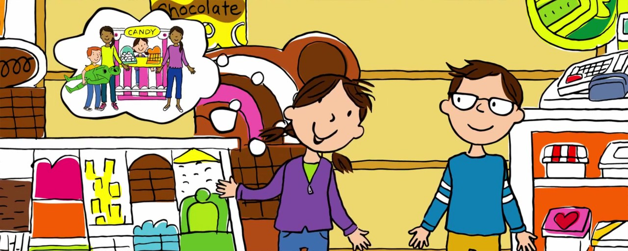 cartoon of children in store making decisions about buying candy