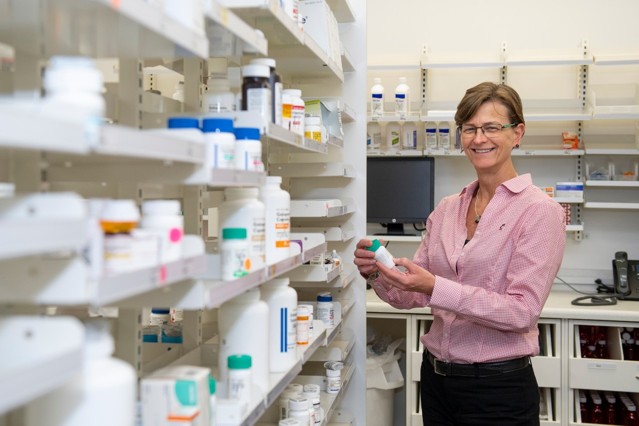 Bethanne Brown in a pharmacy