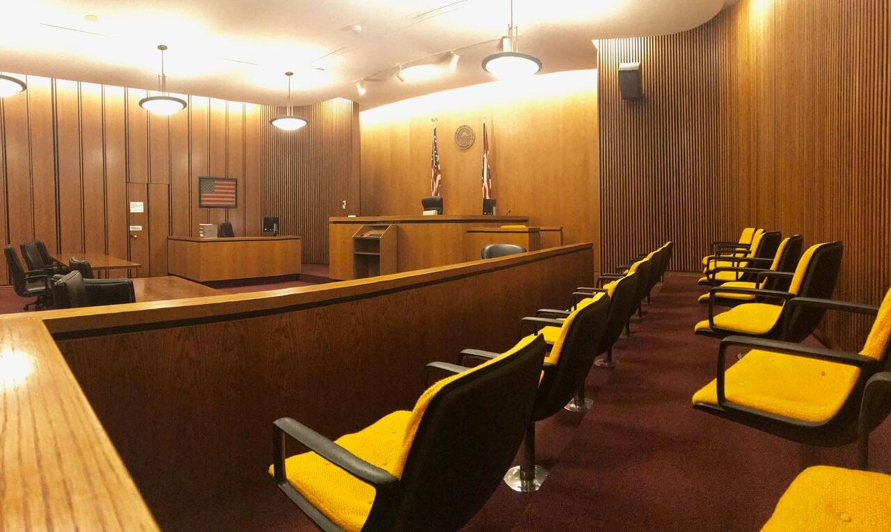 an empty courtroom in Cuyahoga County Ohio