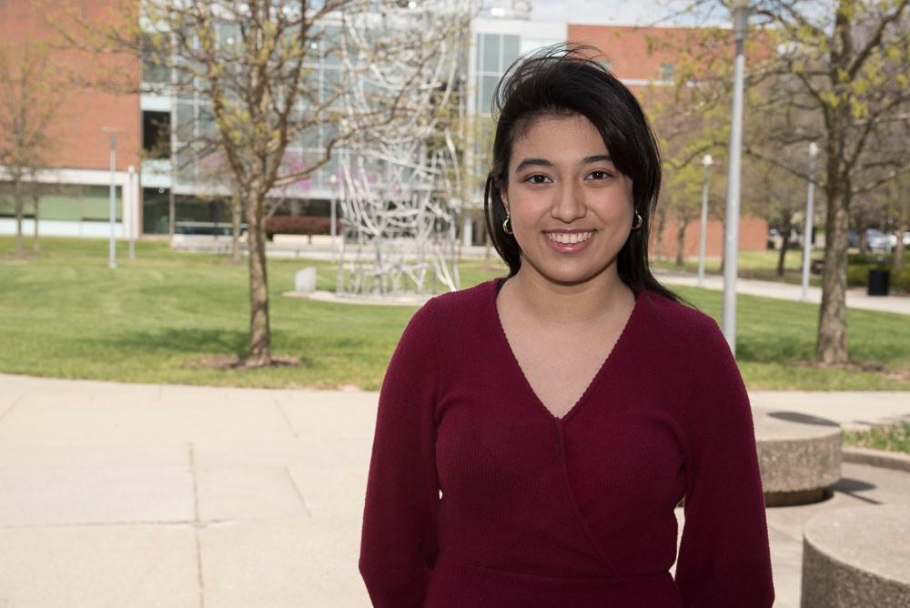 Stephanie Garcia on the UC Blue Ash campus