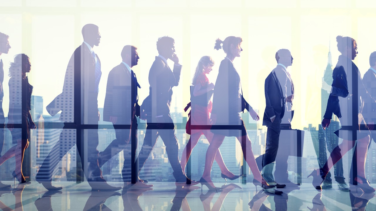 Businesspeople commuting to work