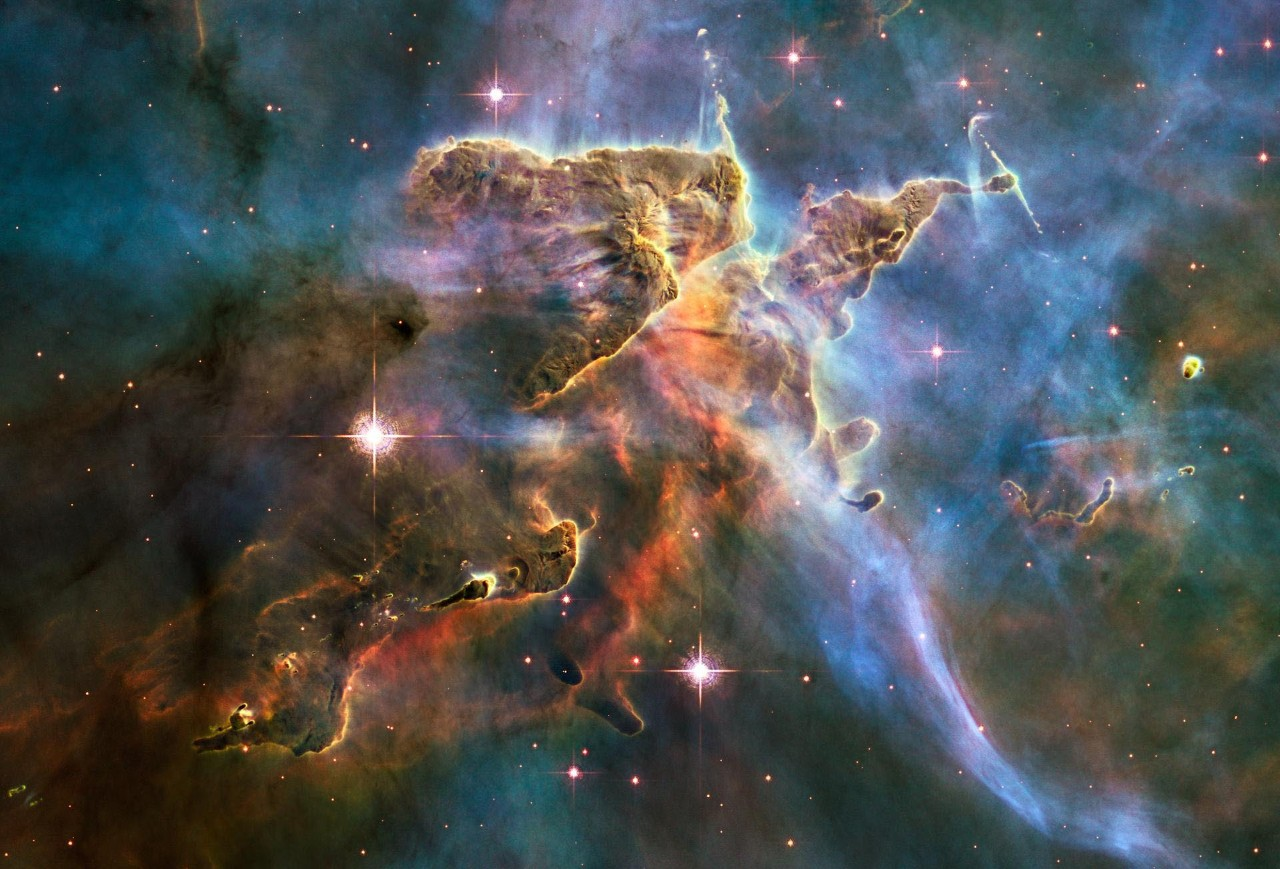 The Hubble Space Telescope captures an image of interstellar gas and dust from the Carina Nebula.