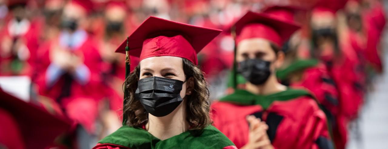 image of masked graduates