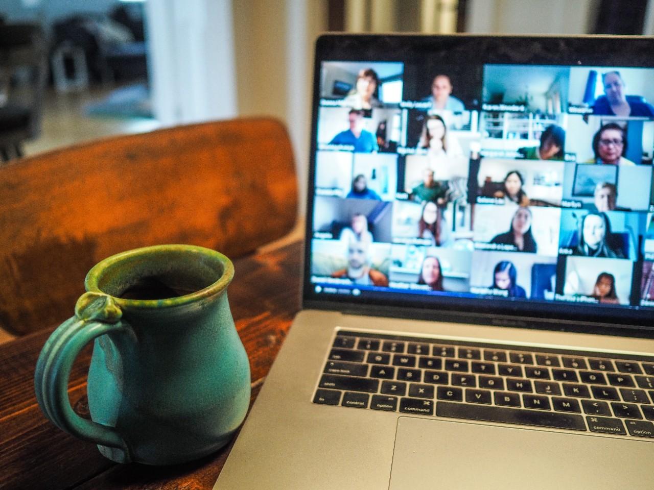 Zoom presentation on a laptop.