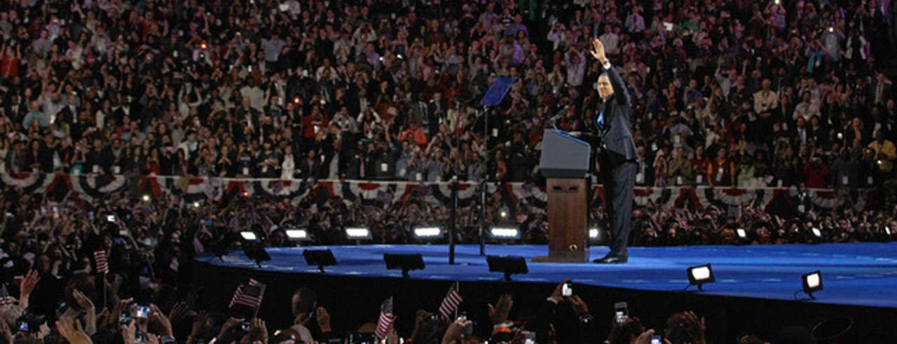 A photograph featuring Kevin Lawson's work on Barack Obama's 2012 election night rally.