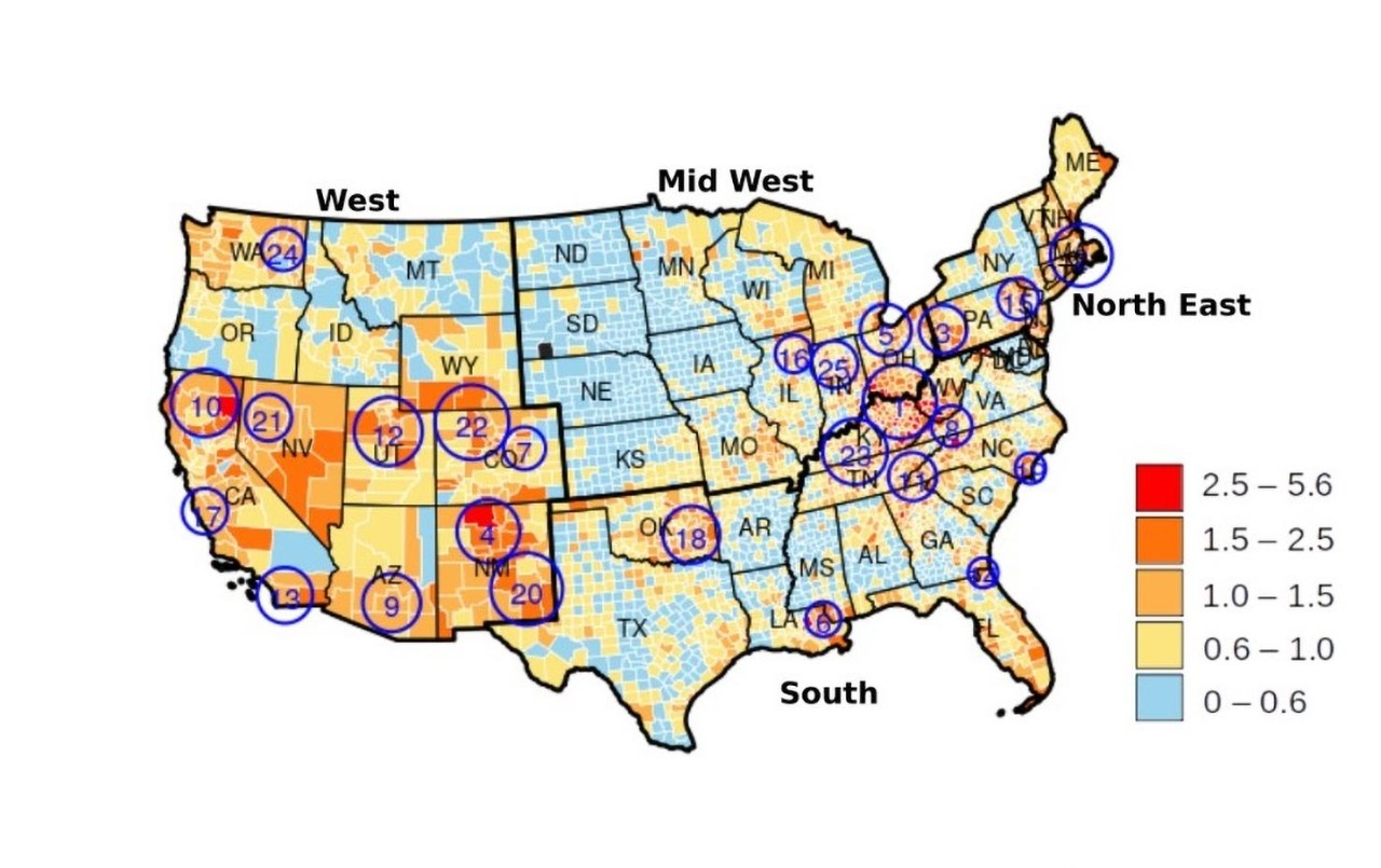 A map of the lower 48 states shows 25 clusters of the highest rate of fatal drug overdoses.