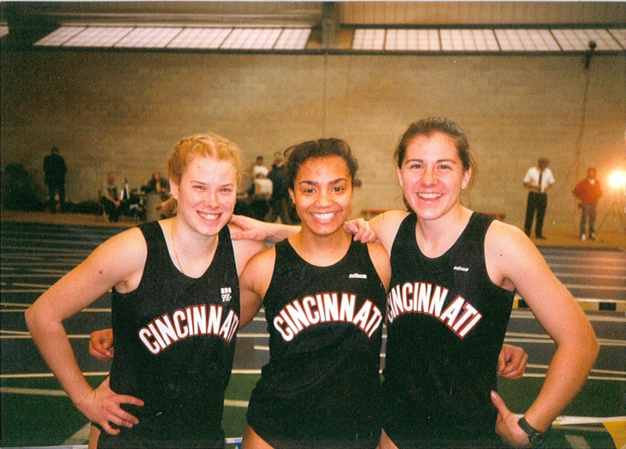McKinley and hurdle teammates at Indoor Track & Field Meet, Winter 1998