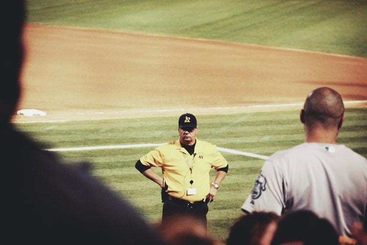 angry fan faces baseball umpire