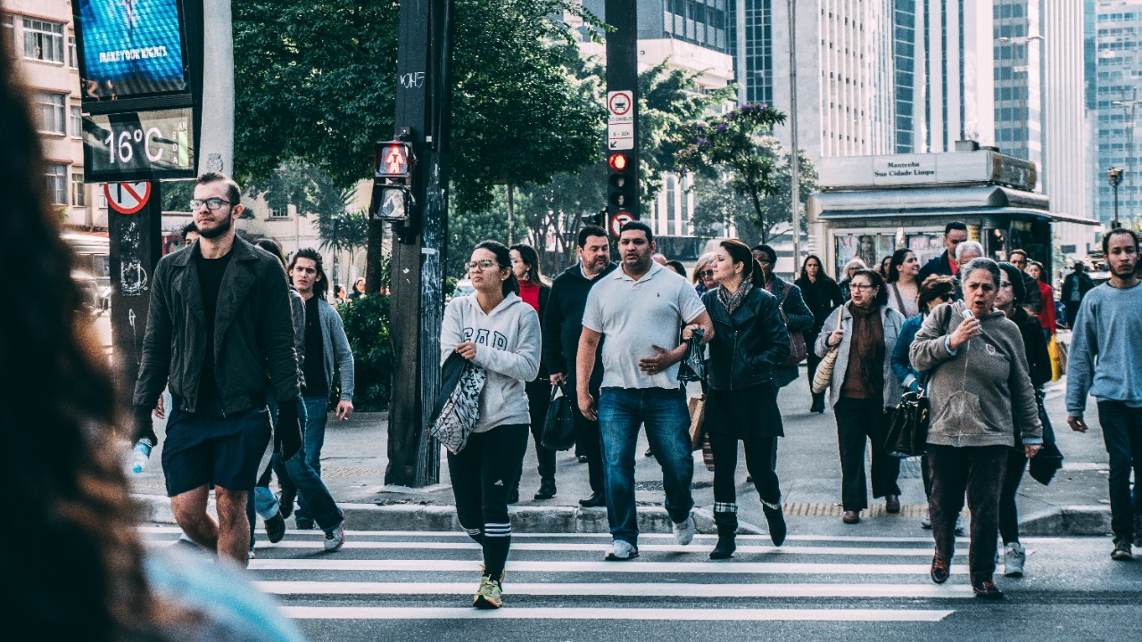 People walking on a crowded city street