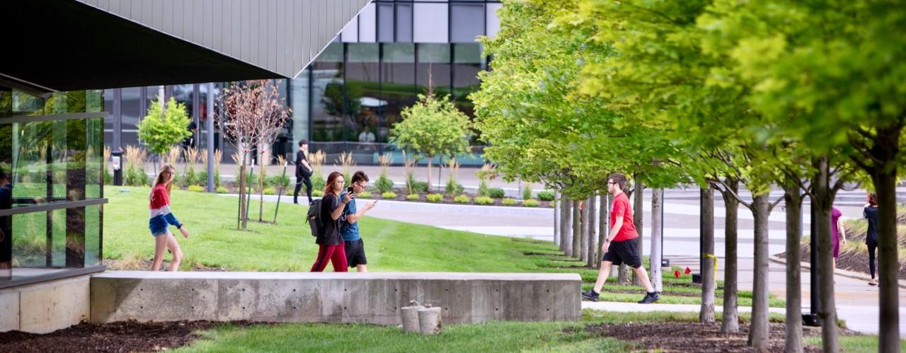 Students walk on UC's main campus.