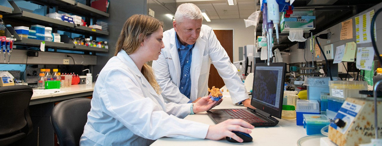 Kaitlin Hart, a doctoral student at UC, and Thomas Thompson, PhD, are shown in a College of Medicine laboratory.