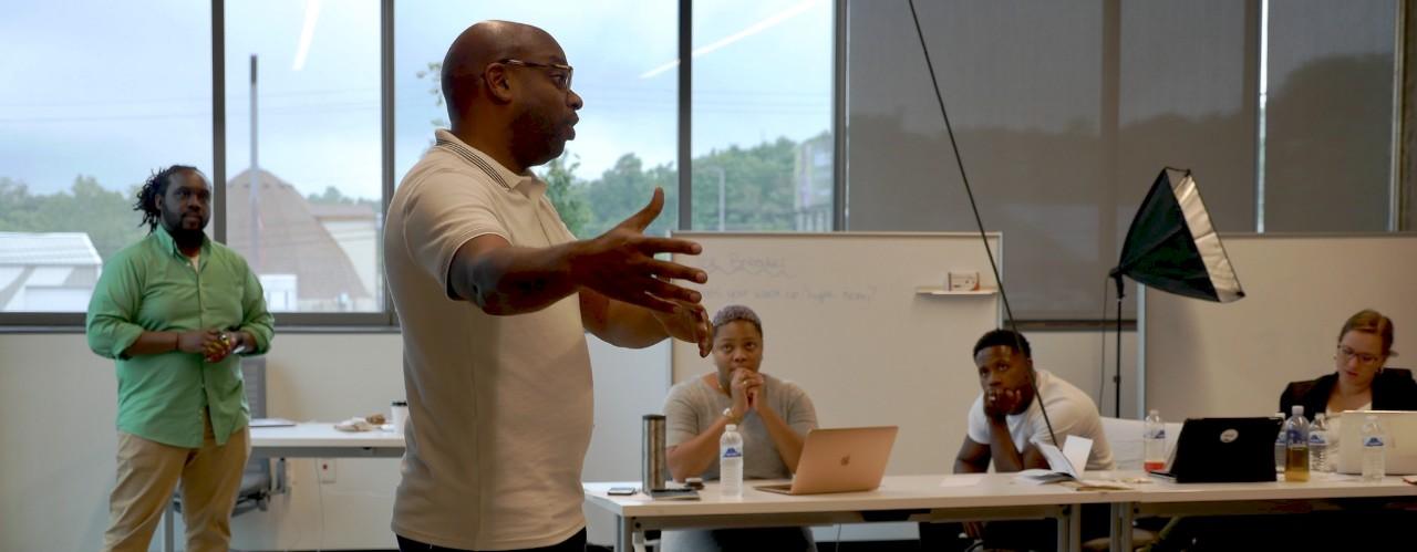 Brian Brackeen teaches new entrepreneurs inside UC's 1819 Innovation Hub