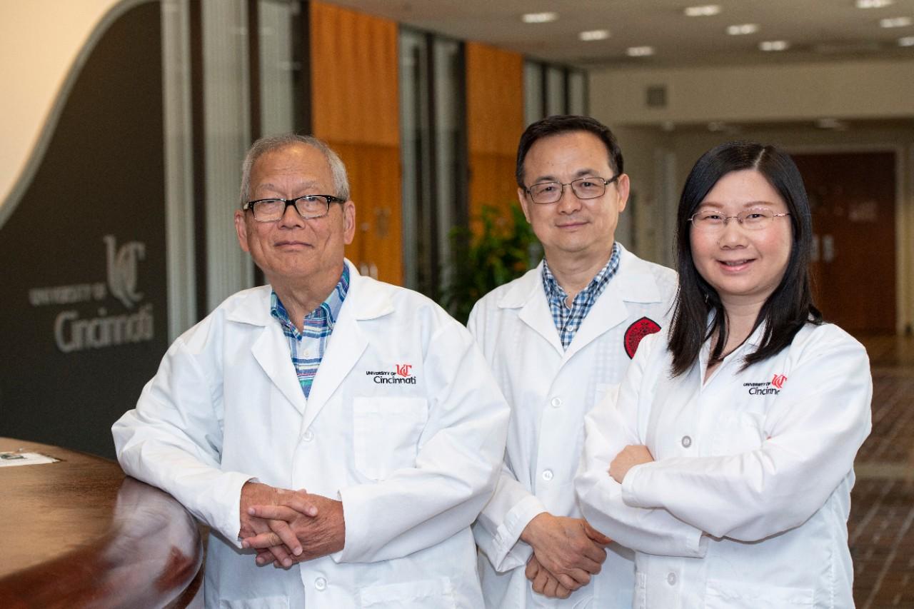 Patrick Tso, PhD, is shown with Min Liu, PhD, and Jie Qu, PhD.