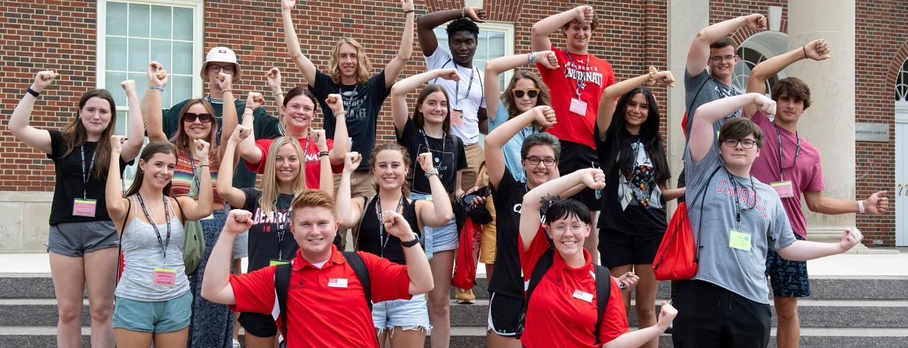 students at the University of Cincinnati showing school spirit at orientation