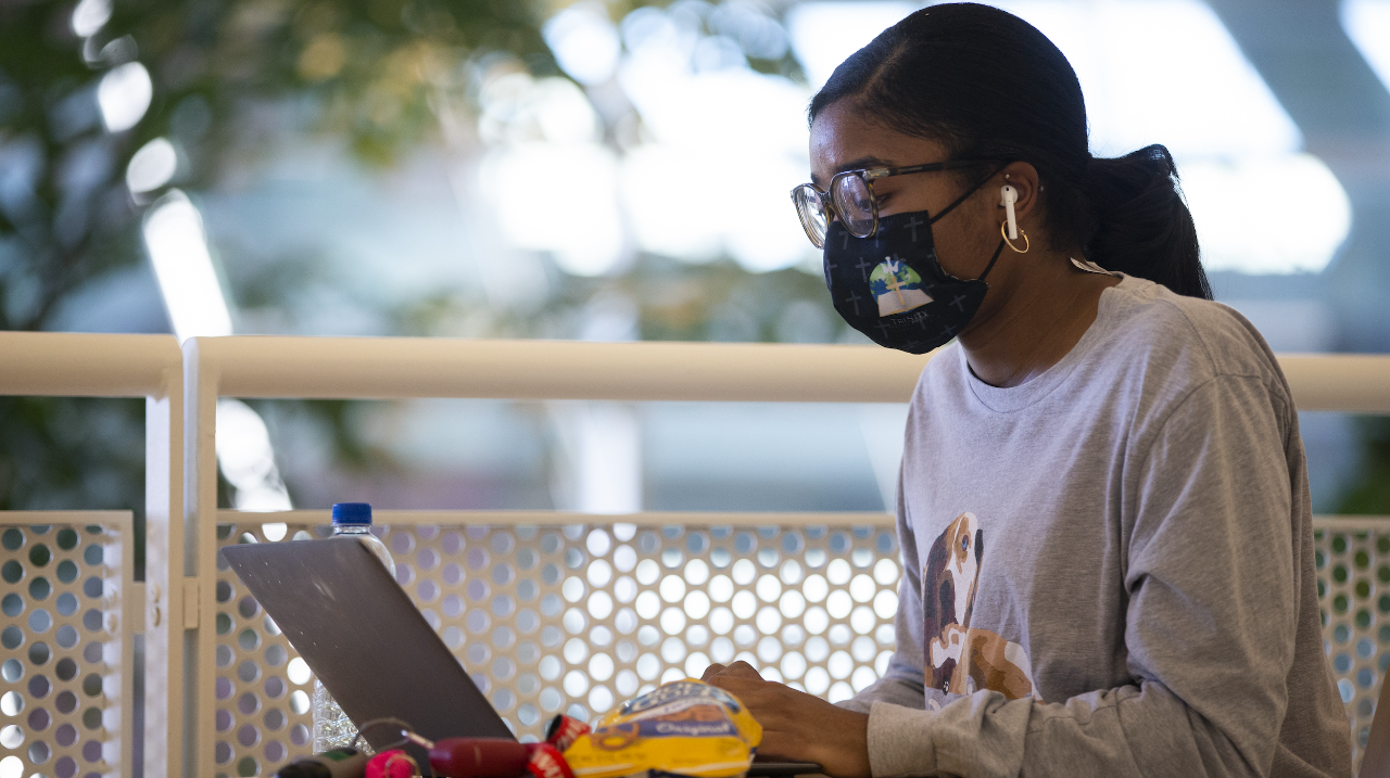 First-year IT student Laurynn-Renee Caldwell enjoys the opportunity to study in TUC even though all her classes are online.