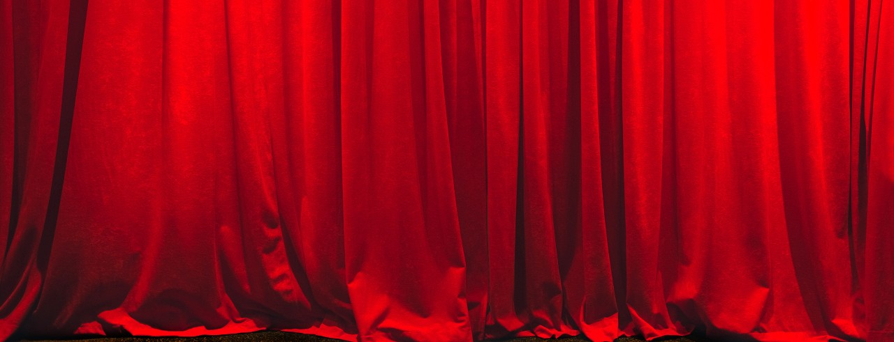 A red curtain on stage