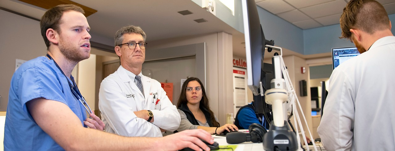 Duncan Hite, MD, with staff at UC Medical Center