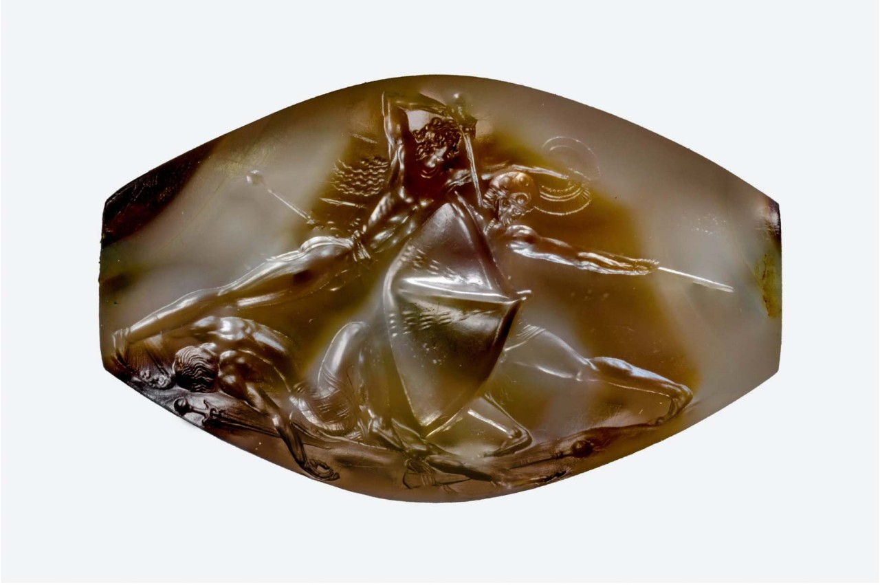The combat sealstone discovered in the tomb of the Griffin Warrior.