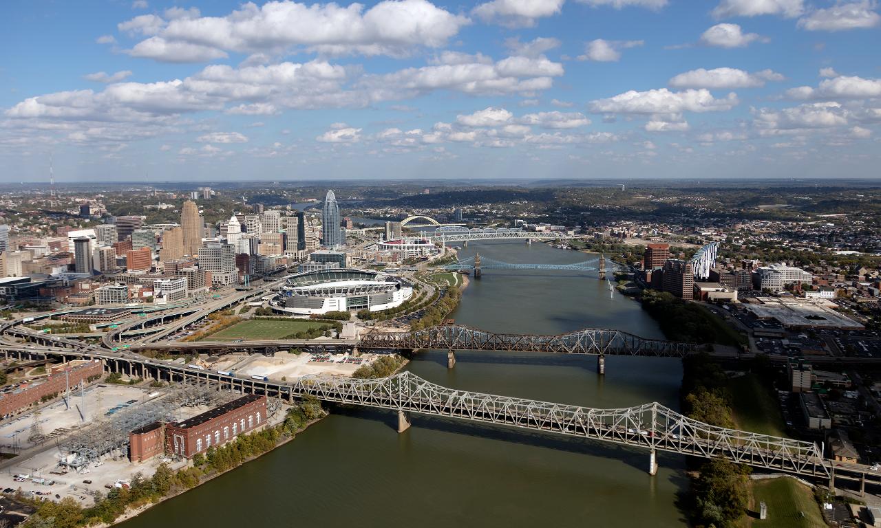 view of Ohio River bridges