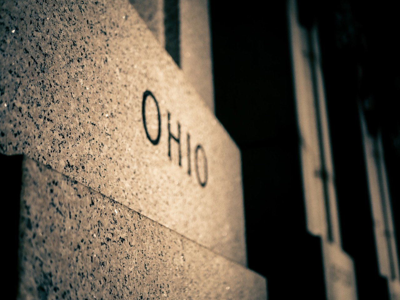 Ohio spelled out in concrete