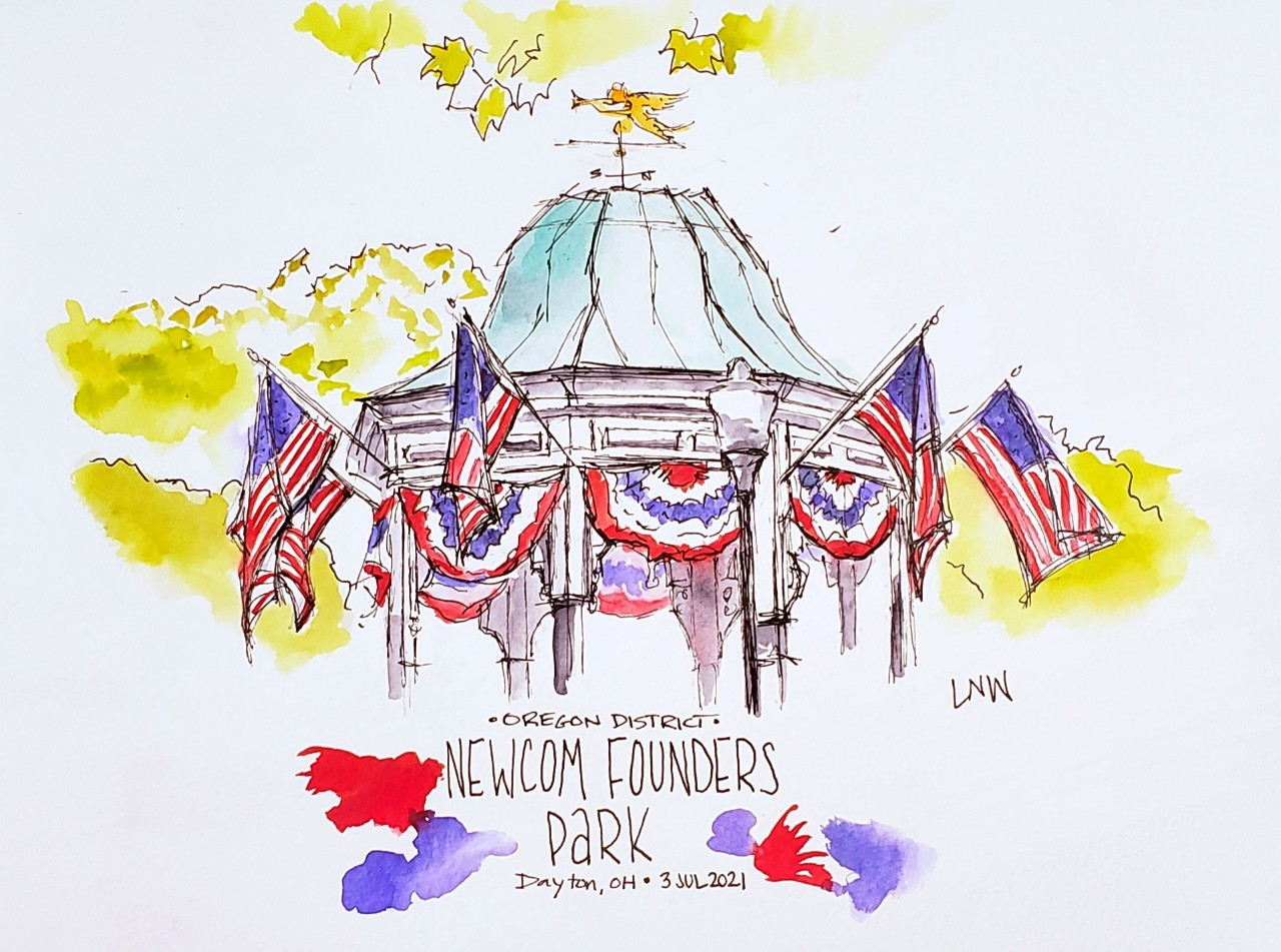 watercolor sketch of park rotunda