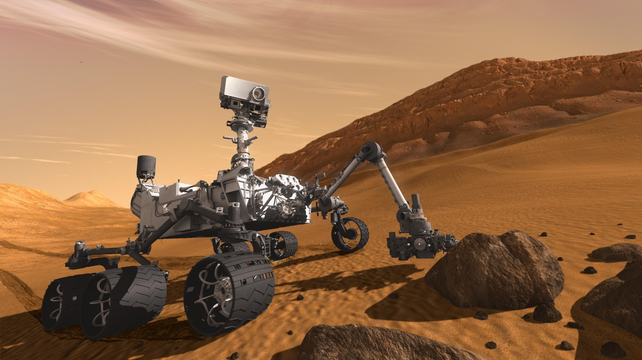 artist's rendition of curiosity rover on Mars