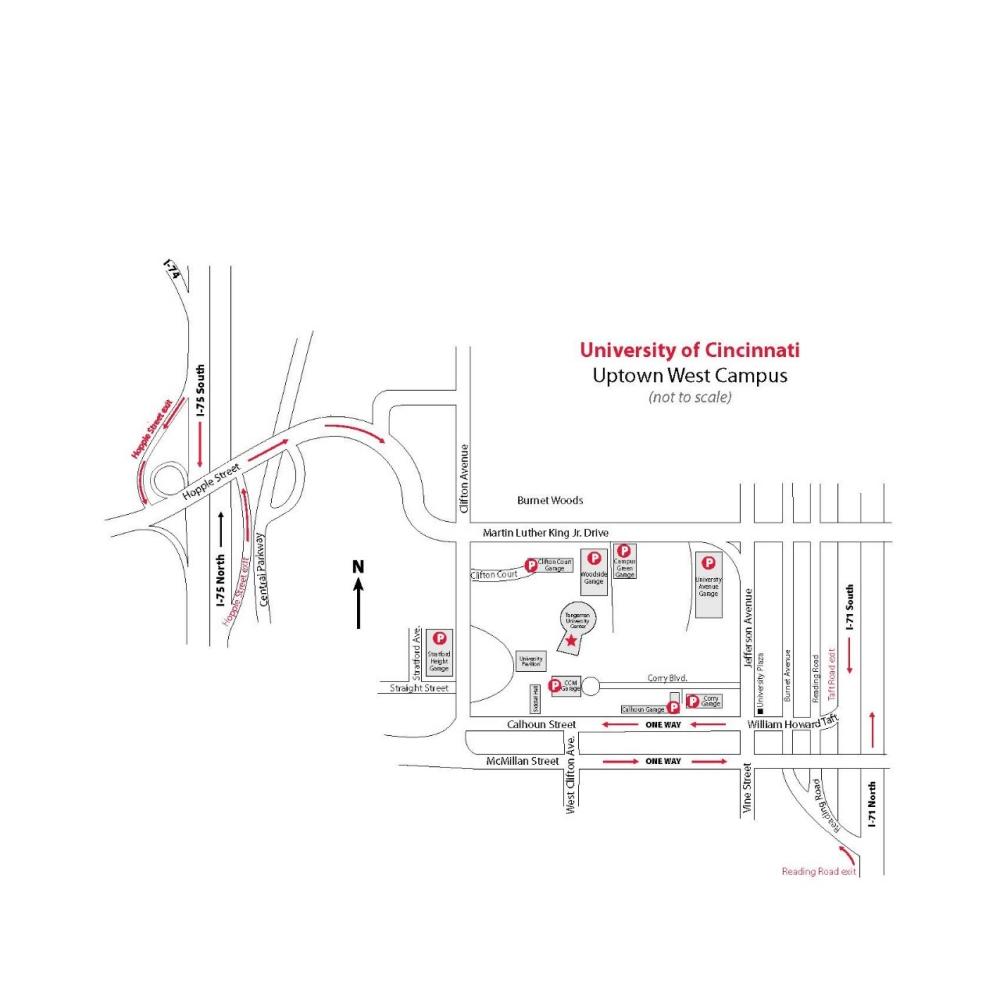 Directions and Maps, University of Cincinnati on